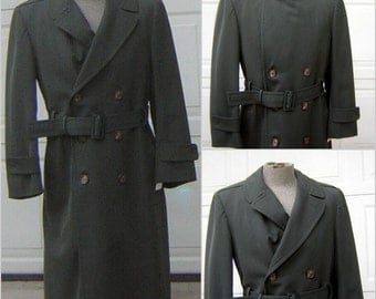 Military Trench Coat Army Green with Warm Zip Out Liner Size 38R Authentic Winter Menswear