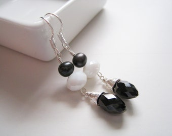Freshwater Pearl and Crystal Dangle Earrings - Black and White - HARLYNNE