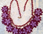 RESERVED for Laurence - Vintage early soft plastic celluloid filigree flowers necklace - burgundy