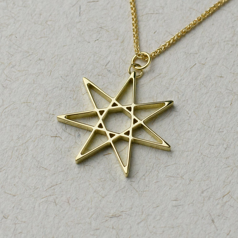 Solid Gold Seven Pointed Star Necklace Available In 14k 18k