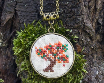 Autumn tree necklace - double-sided necklace with cross stitch and bronze trees n072