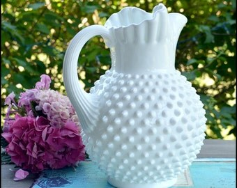 "Vintage Fenton Milk Glass Hobnail Pitcher /Milk Glass Centerpiece / Wedding Milk Glass / 10"" Tall Milk Glass Jug"
