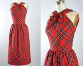 Vintage 60s LANZ Dress / 1960s RED Plaid Tartan Cotton Ribbon Criss Cross Halter Top Neckline Xmas Holiday Cocktail Party Pinup S Small