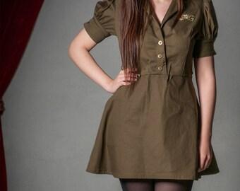 Steampunk Military Dress, Dieselpunk , Gothic Dress, Cosplay, Custom size, Plus size