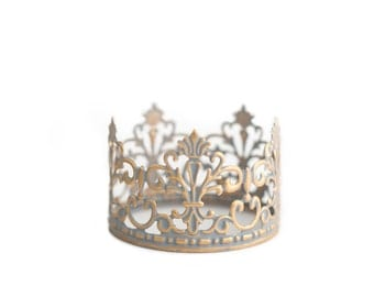 Gold Crown Cake Topper, Gold and Silver, Mini Crown, handpainted and distressed crown - Baby Jane