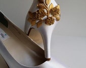 White Wedding Shoes with Gold Leaf - Ivory Wedding Shoes with Gold Leaf - Dyeable Bridal Shoes - Pick your Color