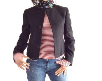 Vintage GIANFRANCO FERRE cropped black jacket / 1990's cropped jacket / womens black jacket for fall / gift for women