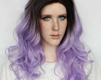 SALE Purple Lace Front Wig | Long Purple Roots Wig | Curly Long Gradient Lace Front wig | Midnight Orchid