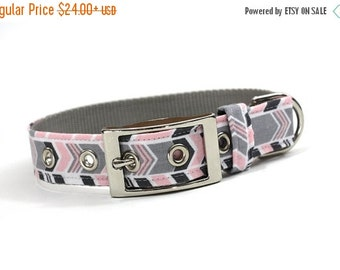 ON SALE Dog Collar with Metal Buckle-Pink and Grey Chevron Stripe
