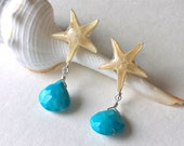 Starfish Turquoise Earrings, Real Starfish, Starfish Dangle Earrings, Sleeping Beauty Turquoise Dangle, Tiny Starfish Drops
