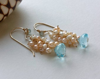 Sky Blue Topaz Earrings, Pink Pearl Cluster Earrings, Blue Topaz Dangle Earrings, Pink Blue Dangle:  Ready to Ship