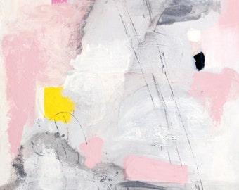 Original Abstract Painting, Acrylic on Canvas, Pink, Yellow, Grey, Modern Art, Canvas Wall Art, Acrylic Painting, Original Art