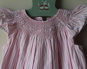 Vintage Pink Striped Smocked Toddler Dress Vintage Smocked Girls Dress Vintage Pink and White Smocked Toddler Dress Vintage Girls Dress