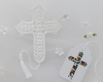 Crochet Cross Bookmark, Solid White, Includes Cross Gift Tag