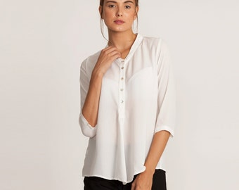 White sheer blouse, white shirt, button down blouse, white top, white summer top, button down white top, loose fit, winter sale, 3/4 sleeve
