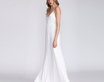White maxi dress, Bridal women dress, white, v neck, open back dress, crepe dress, Spaghetti straps, wedding gown, beach Wedding Dress, boho