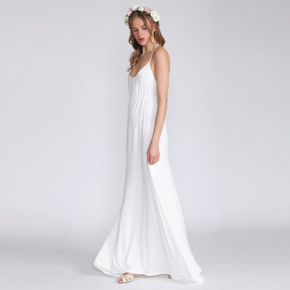 Meaning Of White Wedding Dress In A Dream : White maxi dress bridal women v neck open back