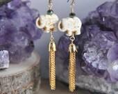 Elephant Earrings, Tassel Earrings, Long Earrings, White Howlite Earrings, Animal Earrings, Nature Earrings, Boho Earrings, Gypsy Earrings