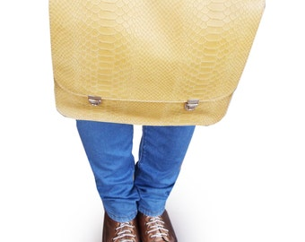 SALE Mustartd backpack, Leather backpack, Mustard handbag