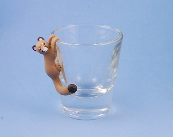 Hand Sculpted Cougar 1.5 oz Shotglass