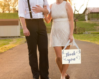 Thank You Wedding Banner | Hanging Bridal Sign Bride & Groom | Handmade in USA | Photo Prop | Thank You Cards | Romantic Script Font 1169