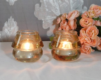 Rare Light Yellow Vintage Glass INSULATORS ~ Pretty Candle Holder ~ Home Decor ~Set of 2