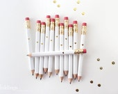 White and Gold Foil Heart Mini Pencils // Bridal or Baby Shower Game Pencils