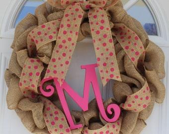 Monogram wreath, initial wreath,  rustic burlap wreath, outdoor wreath, front door wreath, spring wreath, monogrammed door hanging