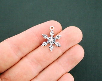 10 Snowflake Charms Antique Silver Tone 2 Sided - SC5979