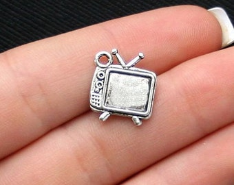 6 Television Charms Antique Silver Tone Retro TV 2 Sided - SC488