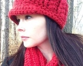 Womens Red Chunky Hat With Brim Thick Winter Beanie- Beanie- Brimmed hat