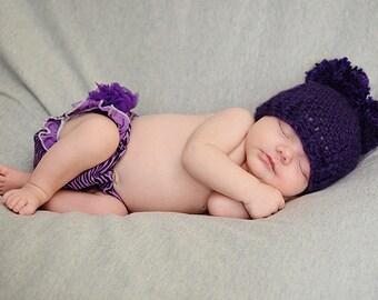 Purple Double Pom Pom Hat, Custom Hat, Photography prop, Newborn to Adult Hat