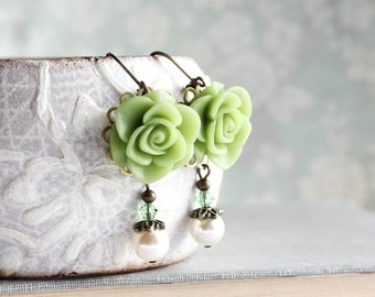 Leaf Green Rose Earrings Bridesmaids Gift Ivory Pearl Drop Romantic Floral Dangle Colorful Wedding Nickel Free Leverback Bright Apple Green