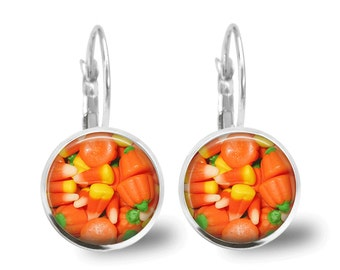 Halloween Jewelry Halloween Earrings Holiday Jewelry Beaded Jewelry Candy Corn Earrings Pumpkin Earrings Orange Earrings Orange Jewelry