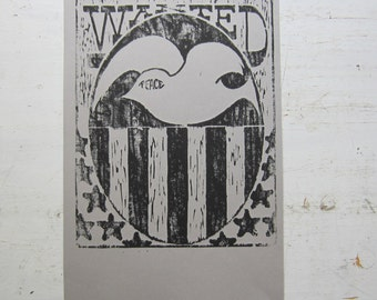 Peace Poster - Re-strike From Vintage Woodcut - Boho Hippie Home Decor - Black & Grey
