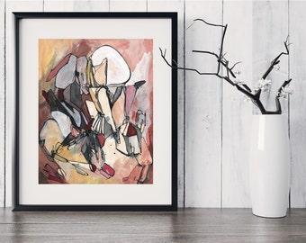 Fine Art Print, Black White Red Gray Yellow Pink Burgundy Ink Painting, Original Abstract Art, Abstract Line, Original Abstract GICLEE Print