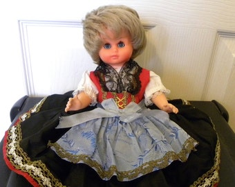 "Vintage 10.5"" German Doll - Vintage Costume Doll - 1950's Doll - Old German Doll"