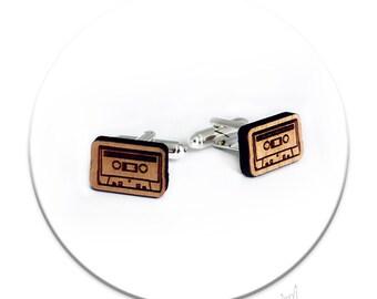 Cufflinks - Audio Tape Wood Laser Cut Music Hipster Geek