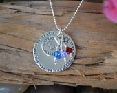 Personalized Necklace with Birthstones - Sterling Silver - Choose your own words -Mom's Necklace , Wife Gift, Grandmother's Necklace, Shower