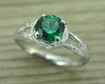 Twig Emerald Engagement Ring, Alternative Engagement Ring, Twig Ring, Unique engagement ring, Vintage Bark Ring, Wood Engagement Ring