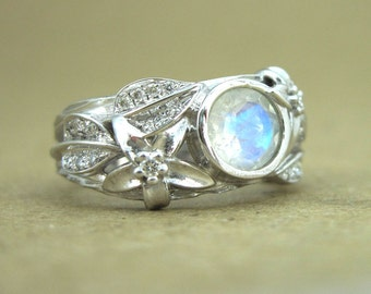 Moonstone Leaf Ring, White Gold Moonstone Ring, Engagement Moonstone Ring, White Gold Leaves Ring With Moonstone, Nature Engagement Ring
