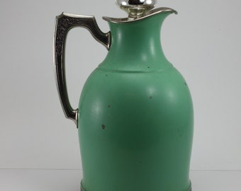Vintage Universal Landers Frary & Clark Green Glass Lined Carafe Thermos Pitcher