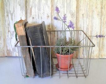Vintage Wire Basket, Wire Storage Basket, Industrial Wire Basket, Square Wire Basket