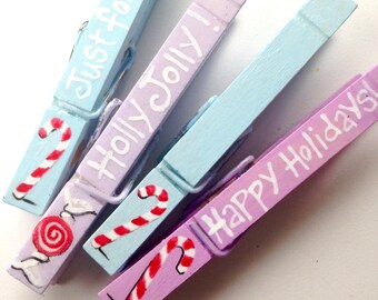 PAINTED CLOTHESPINS lavender and blue Christmas pegs candy canes happy holidays