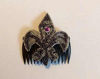 Purple and Silver Fleur de Lis Beaded Hair Comb