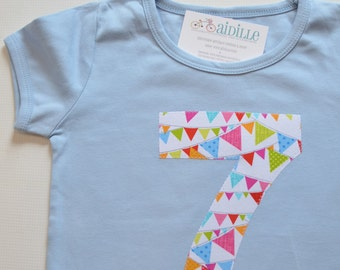 Girls 7th Birthday Shirt, Pennant Flag Banner, Bright Colors, Sky Blue Short Sleeve, Size 8 runs small, Ready to Ship Number 7 Tee Applique