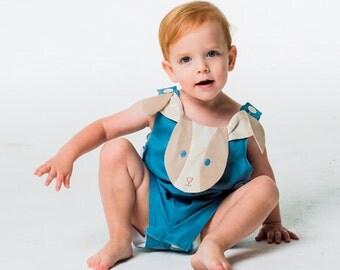 Baby Boy Outfit, Bunny John John, Blue Linen Romper, Handmade Boy's Outfit