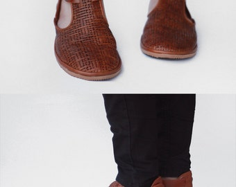 Handmade Cut-out flat leather shoes - Textured - CUSTOM FIT