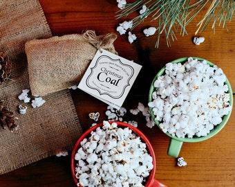 Christmas Coal popcorn - black popcorn and black sea salt - edible lump of coal