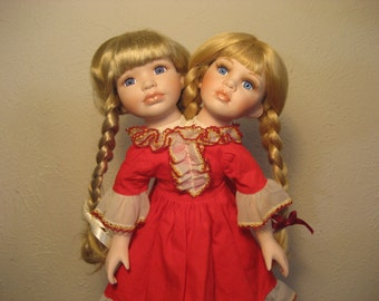 "Two Headed Siamese Twins Altered Doll in Red ""Pollyanna"""